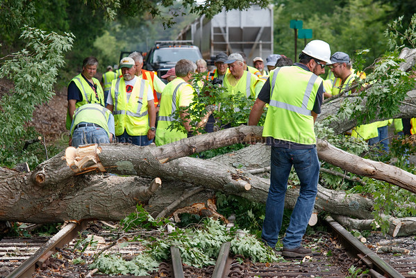 A Providence & Worcester Railroad employee cutting up the fallen tree.