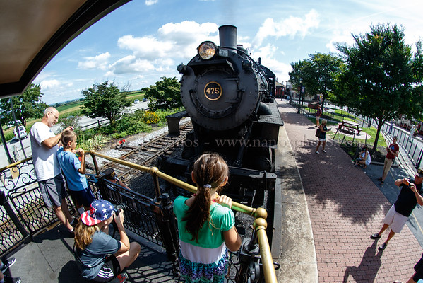 The first run of the day gets ready with 475 about to tie onto the train in Strasburg, PA