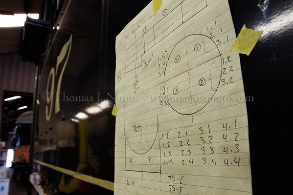 Sketches taped to 97s cab outlining where to needle scale the metal - part of the stabilization process.