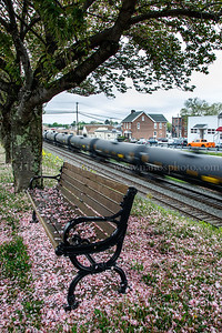 A westbound empty crude oil train passes through Emmaus, PA on a chilly, cloudy and drizzly May afternoon.