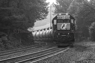 Trailing power on a Norfolk Southern local freight rounds the curve in Wernersville, PA