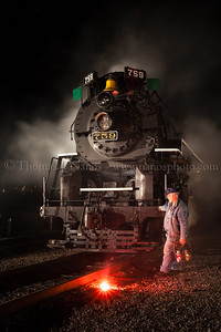 Part of the Railfan & Railroad Spring TRAINing 2011 night shoot. Lighting & smoke effects by Lerro Productions. April 30, 2011 at Steamtown in Scranton, PA