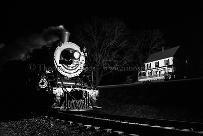 No 3025 leads the North Pole Express through Chester, CT