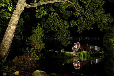 Providence & Worcester train NR-2 heads south along the Thames River in Ledyard, CT