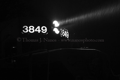 """Nighttime Snowfall A New England Central Railroad EMD GP-38 idles in South Windham, CT as a storm begins to drop some snow.  This shot also earned a """"Judges Also Liked"""" honor in the 2009 Center For Railroad Photography and Art's annual Creative Photography award."""