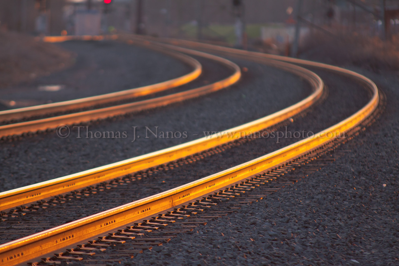 Golden Ribbons of St. Patrick's Day<br /> The rails of Bound Brook, NJ glow in the golden hour light at around 5:45PM