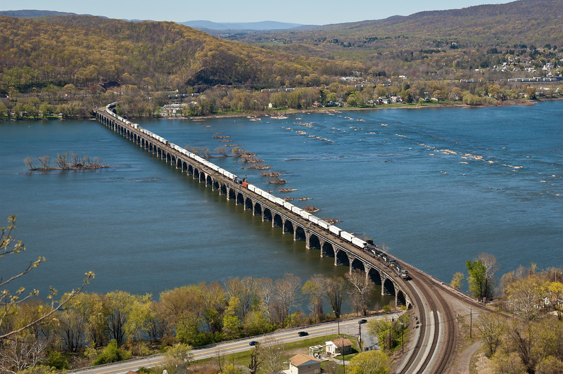 Rockville Bridge, the longest stone arched bridge in the world, spans the Susquehanna River near Harrisburg, Pennsylvania.
