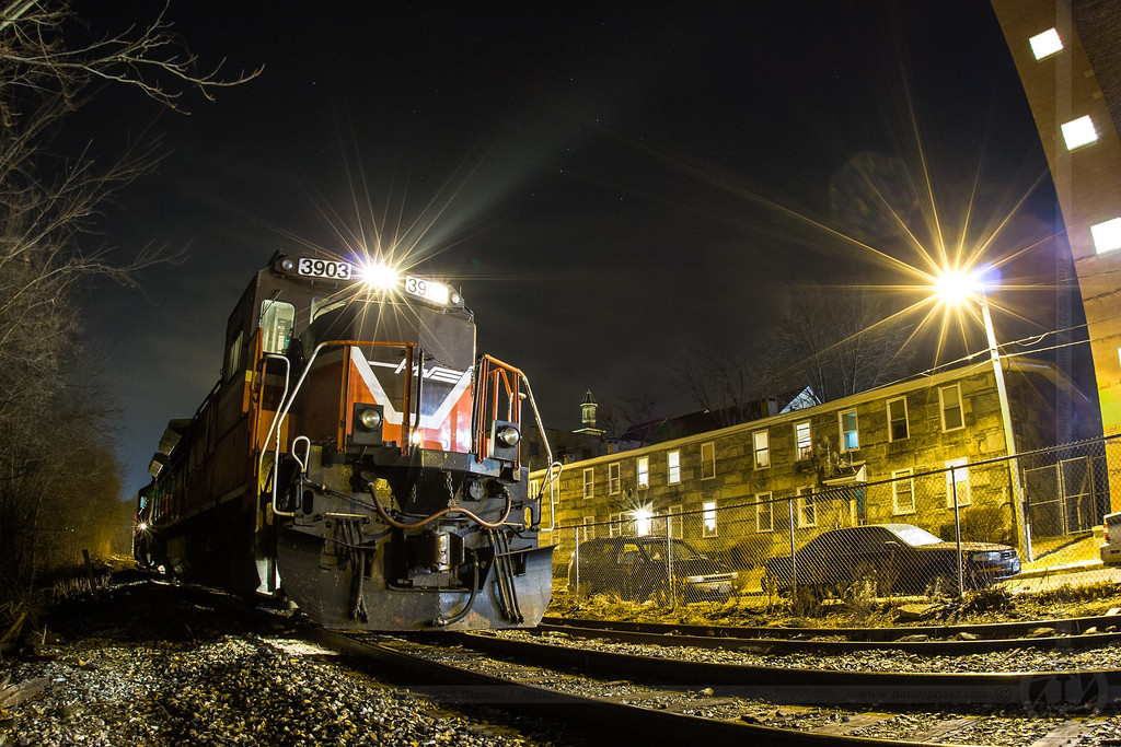 NR-4 at Night - Providence & Worcester train NR-4 pauses in the New England Central Railroad's Willimantic, CT yard while performing interchange duties near midnight on January 8, 2008
