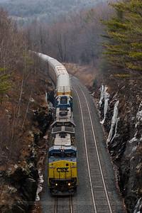 Westbound CSX freight climbs Washington Hill in the Berkshires of Massachusetts