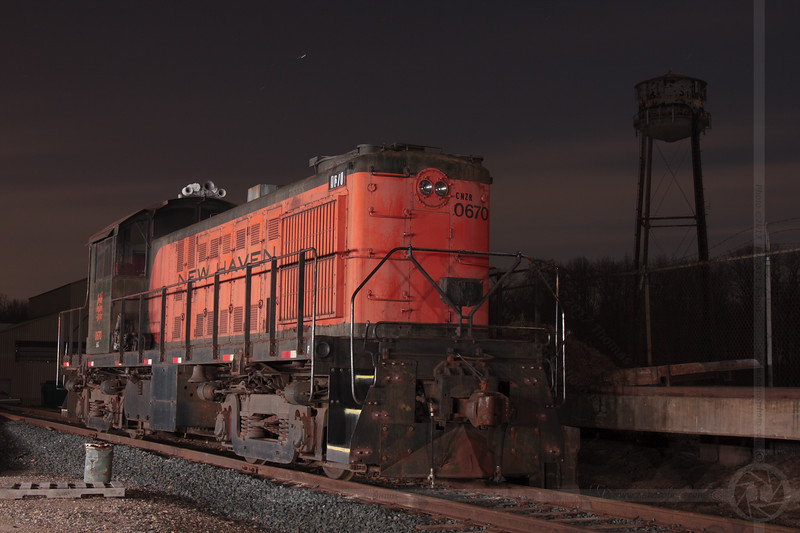 The New Haven Lives<br /> The Central New England Railroad's Alco RS-1 No 0670, a former New York, New Haven and Hartford Railroad locomotive, rests in Scantic, CT under the stars