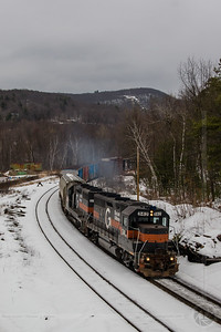 PamAm Railways train NMED heads west through Millers Falls, MA on March 10, 2007