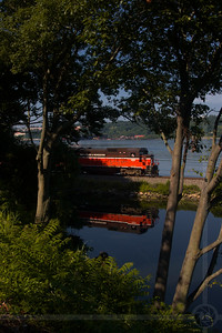 Providence & Worcester train NR-2 heading south past Goss Cove in Groton, CT