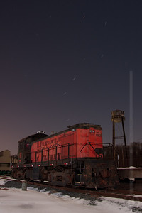 Ursa Major and an Alco Central New England Railroad Alco RS-1 No 0670 rests in Scantic, CT as the Big Dipper spins overhead