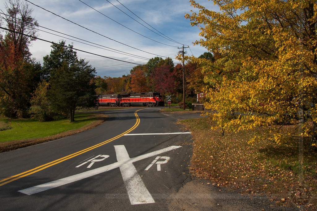 P&W in Middlefield<br /> Providence & Worcester train CT-1 heads north through Middlefield, CT on a fall afternoon