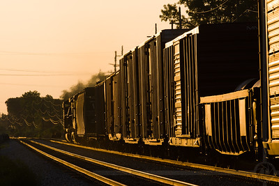 Eastbound NS at Romulus An eastbound Norfolk Southern manifest freight heads into the post-dawn sunlight at Romulus, MI on June 16, 2006