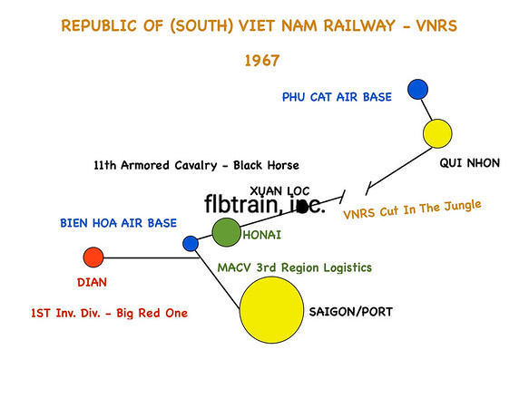 General Map of the South Viet Nam Railway, circa 1967