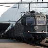 Swiss Railways northbound express boards passengers.  Lugano, Switzerland, 8/4/1986.