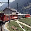 Swiss Railways Glacier Express between Chur & Brig, Switzerland.  8/9/1984.