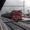 Swiss Railways shunter in the rain.  Interlaken, Switzerland, 8/5/1984.