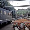Swiss Railways train for Zurich departs Lugano, Switzerland.  8/1/1986.