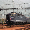 Swiss Railways northbound express arrives Meide, Switzerland.  8/4/1986.