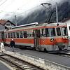 GFM narrow gauge Swiss Railways ready to depart Les Avants, Switzerland.  8/7/1984.