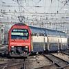 Trains at the throat pf Zurich Main Station.  Swiss Railways, Switzerland, 4/25/1998.