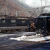 Swiss Railways passengers in the snow.  Interlaken, Switzerland, 1/9/1986.