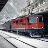 Swiss Railways Express in the snow.  Interlaken, Switzerland, 1/5/1986.