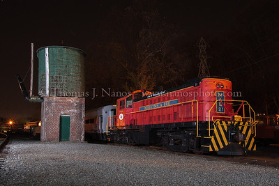 At the Whippanny water tower A Morristown & Erie Alco RS-1 rests at the Whippanny Railroad Museum in Whippanny, NJ
