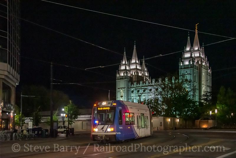 Photo 5563<br /> TRAX (UTA)<br /> Temple Square, Salt Lake City, Utah<br /> May 8, 2019