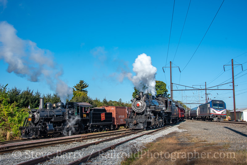 Strasburg and Amtrak; Leaman Place Junction PA; 10/17/20