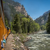 A ride on the Durango & Silverton Narrow Gauge Railroad along the Animas River in Colorado.