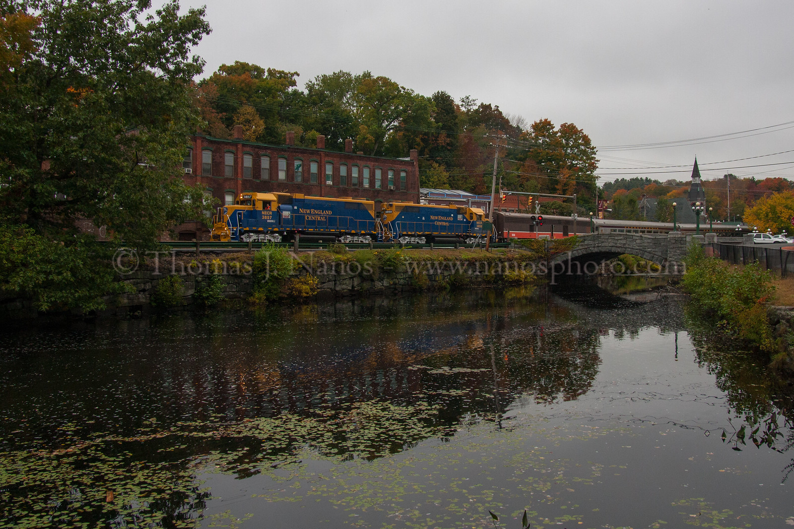 The Central Corridor Rail Coalition special on the New England Central Railroad passing through Stafford Springs, CT.  10/4/2012