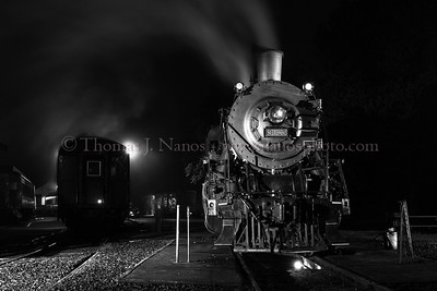 Nighttime in Essex Valley Railroad No 3025 simmers over the pit in Essex, CT after a full day of hauling photographers up and down the Connecticut River valley.  This was during the night photo shoot put on by Lerro Productions.