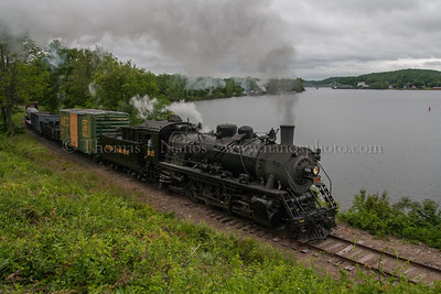 Lerro Productions Valley RR Charter May 2012 No 3025 passes by Broadway with the Haddam swing bridge and Goodspeed Opera House in the background