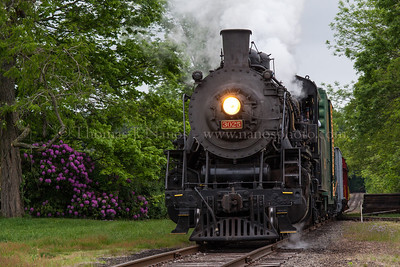 Lerro Productions Valley RR Charter May 2012 Runby at Chester with some blooming lilacs adding color
