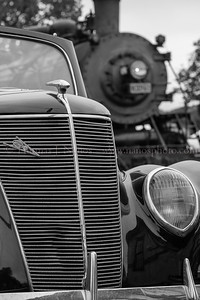 Lerro Productions Valley RR Charter May 2012 A closeup look at the nose of a Ford, and the nose of a Mikado.  Take in Chester, CT on the Lerro Productions 2012 Valley Railroad photo charter.