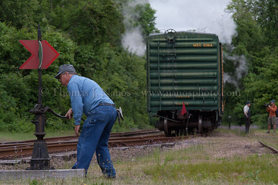 Lerro Productions Valley RR Charter May 2012 David lining a switch at Goodspeed