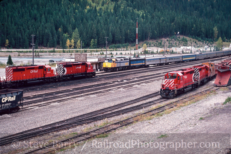 Photo 2992<br /> CP Rail and VIA; Field, British Columbia<br /> September 1988