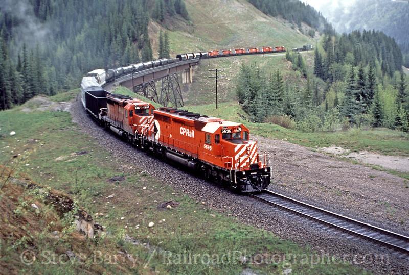 Photo 0162<br /> CP Rail; Mountain Creek Bridge, Rogers, British Columbia<br /> May 21, 1986