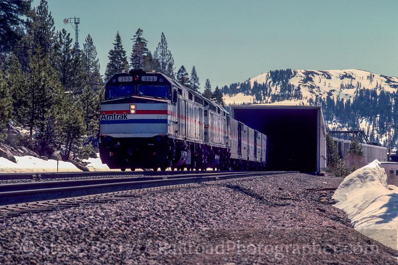 Photo 3019<br /> Amtrak; Norden, California<br /> May 1991