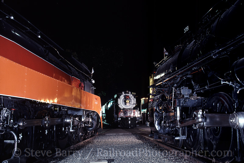 Photo 0745<br /> SP 4449, UP 844 & ATSF 3751<br /> Railfair, Sacramento, California<br /> June 24, 1999