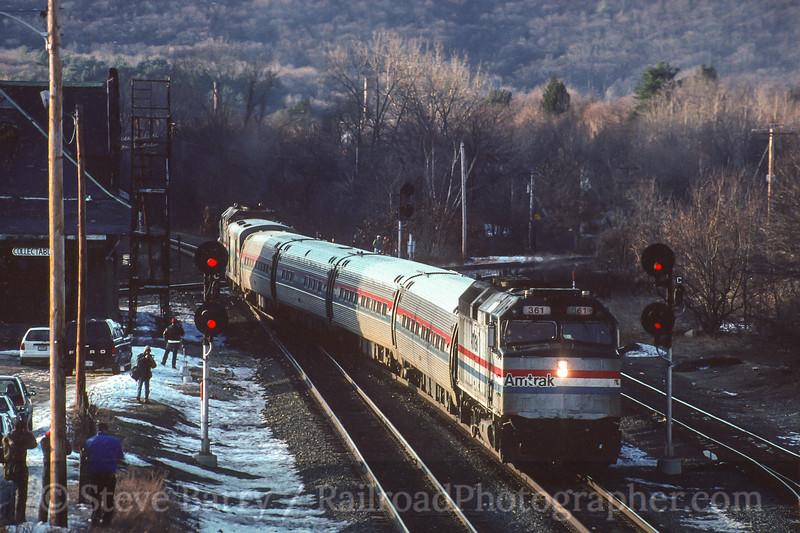 Photo 4470<br /> Amtrak<br /> Palmer, Massachusetts<br /> January 1996