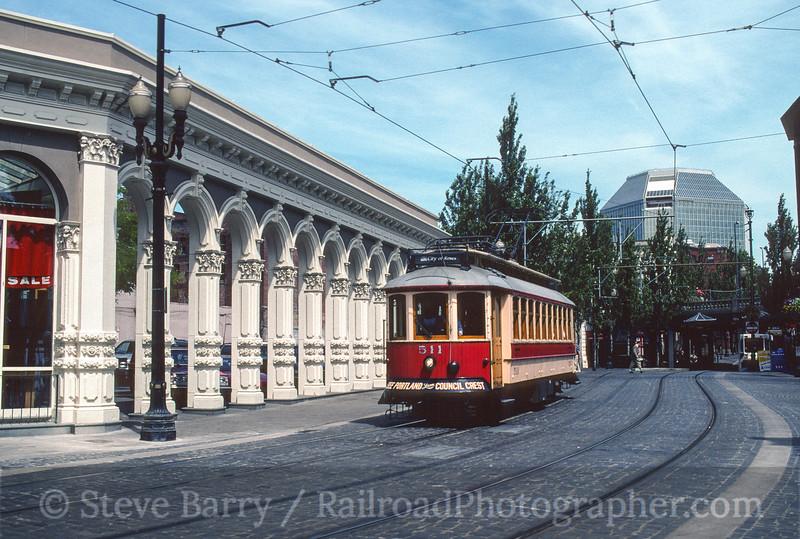 Photo 3625<br /> TriMet MAX; SW 1st & SW Akeny, Portland, Oregon<br /> June 10, 1997