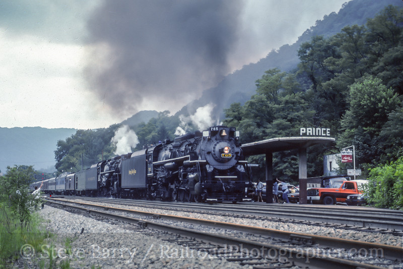 Nickel Plate 765 and Pere Marquette 1225; Prince WV; 8/1991