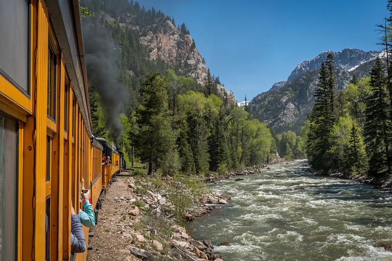 A ride on the Durango & Silverton Narrow Gauge Railroad along the Animas River in Colorado.