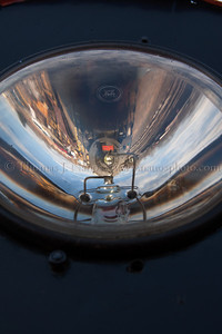 Reflections Valley Railroad Mikado No 3025 as viewed through the headlight of Valley Railroad locomotive 0900