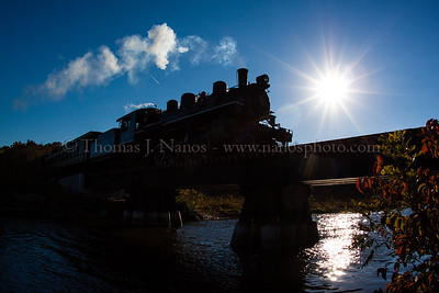 The last regular run over the creek.  The final regular season Valley Railroad train rolls over Deep River Creek on the Deep River/Chester, CT town line the afternoon of 10/22/2012