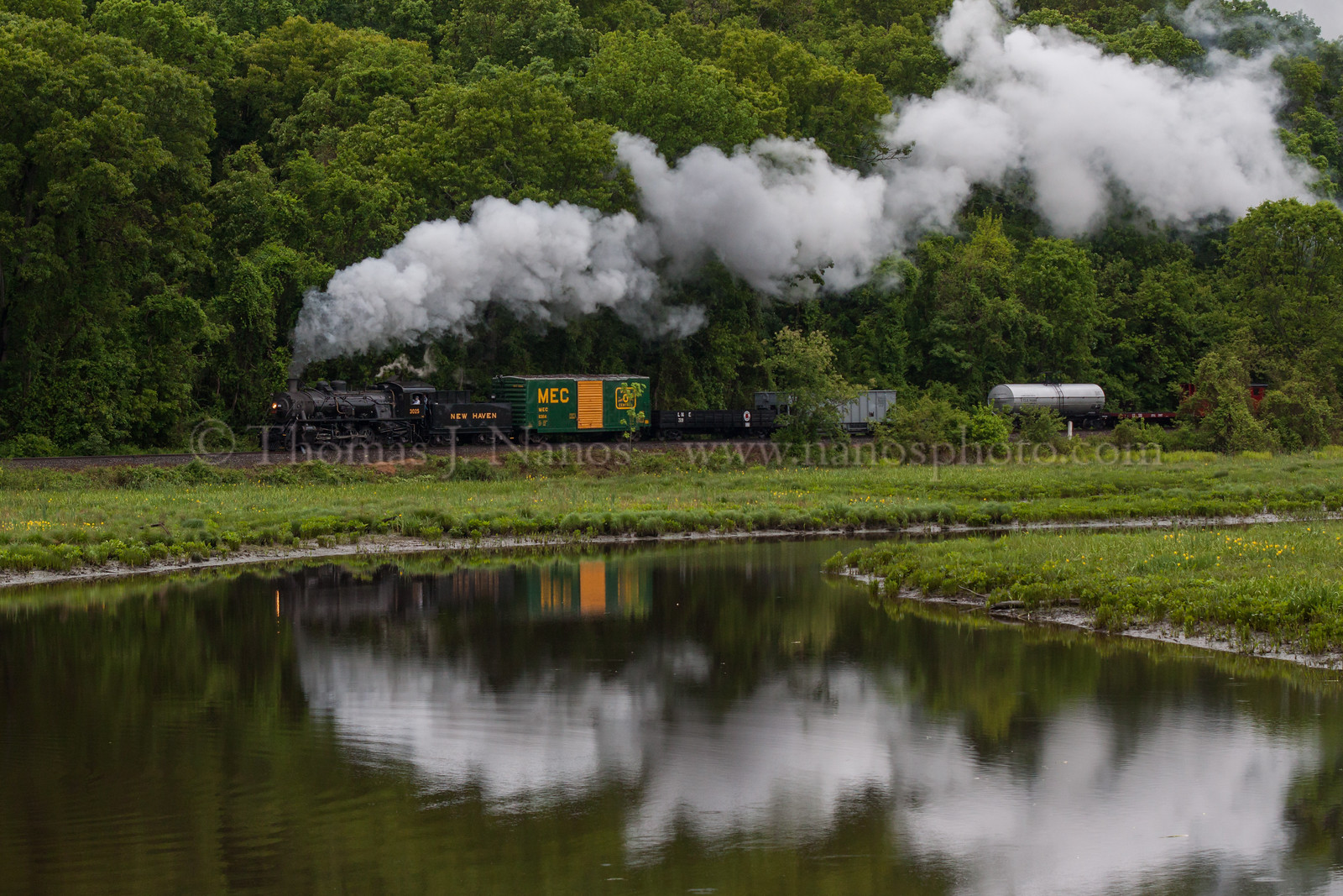 Pratt Cove Reflection<br /> Valley Railroad Mikado No 3025 leads a photo freight past Pratt Cove in Deep River, Connecticut during the first day of the Lerro Productions two-day photo charter.